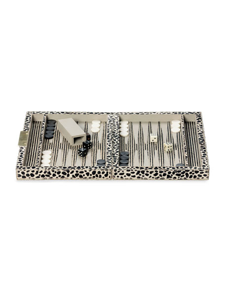 Pigeon and Poodle Bailey Small Cheetah-Print Backgammon Game Set