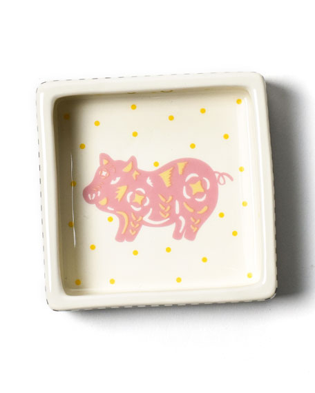 Image 1 of 3: Coton Colors Chinese Zodiac Pig Small Square Trinket Bowl