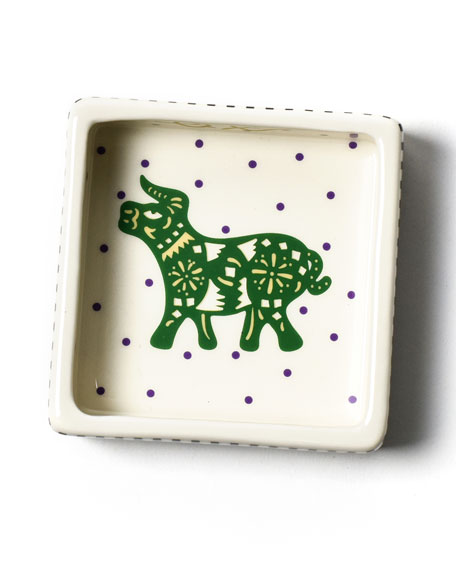 Image 1 of 3: Coton Colors Chinese Zodiac Ox Small Square Trinket Bowl
