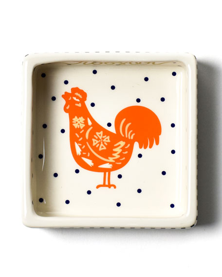Image 1 of 3: Coton Colors Chinese Zodiac Rooster Small Square Trinket Bowl