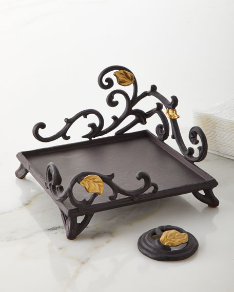 G G Collection Metal Gold Leaf Napkin Holder with Weight