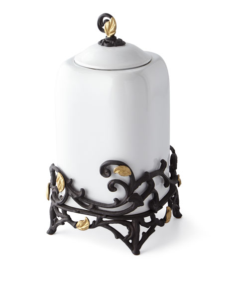 G G Collection White Stoneware Large Canister with Metal Gold Leaf Base