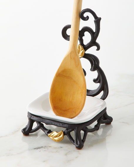 G G Collection White Stoneware Spoon/Soap Rest with Metal Gold Leaf Stand