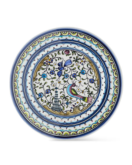 Keramos Nazari Pavoes Blue and Green Dinner Plates, Set of 4