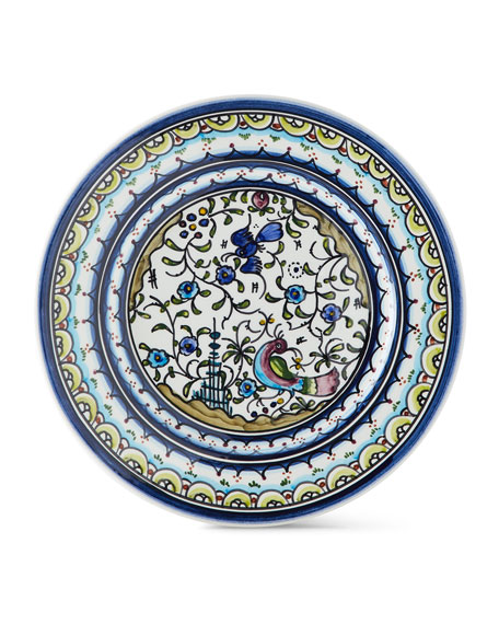Keramos Nazari Pavoes Blue and Green Salad Plates, Set of 4