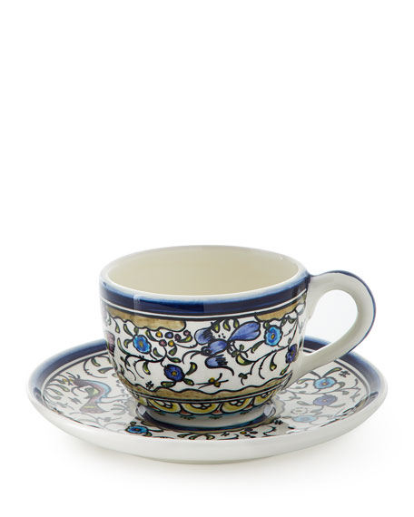 Keramos Nazari Pavoes Blue and Green Cups & Saucers, Set of 4
