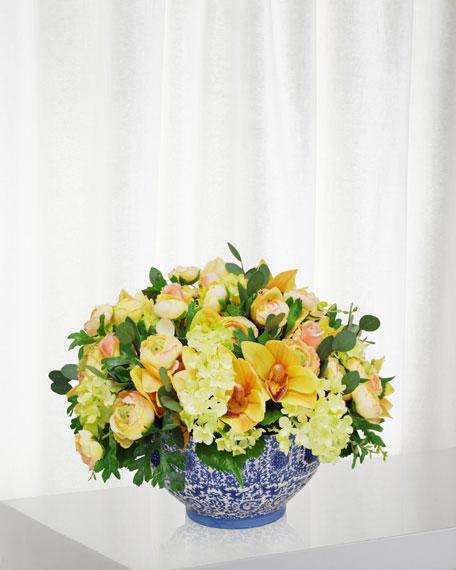 Winward Ranunculus Orchid in Toile Bowl