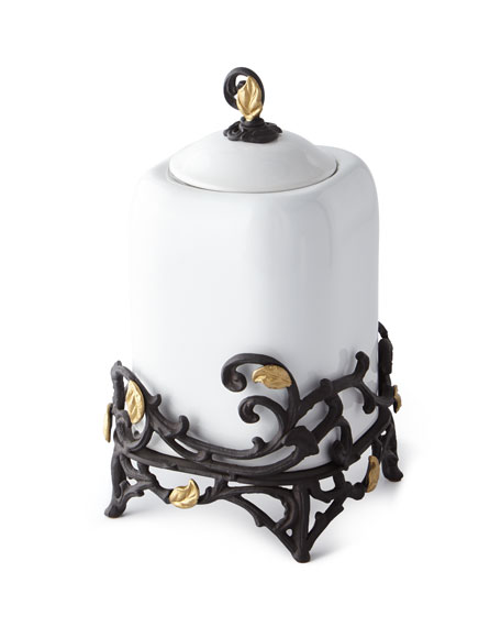 G G Collection White Stoneware Medium Canister with Metal Gold Leaf Base
