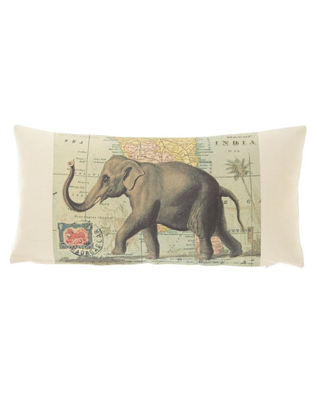 """French Laundry Home Elephant Pillow, 10"""" x 20"""""""