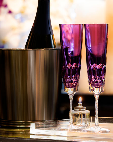 Image 2 of 2: Waterford Crystal Jeff Leathan Icon Champagne Flutes, Set of 2 - Amethyst
