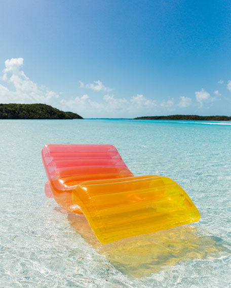 Image 2 of 4: Clear Rainbow Chaise Lounger Pool Float