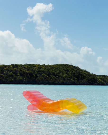 Image 3 of 4: Clear Rainbow Chaise Lounger Pool Float