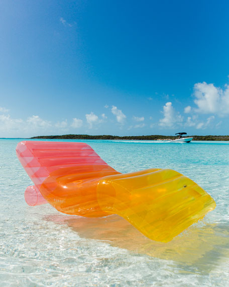 Image 1 of 4: Clear Rainbow Chaise Lounger Pool Float