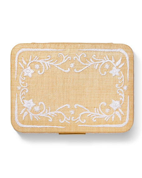 Image 3 of 3: AERIN Beauvais Embroidered Raffia Jewelry Box