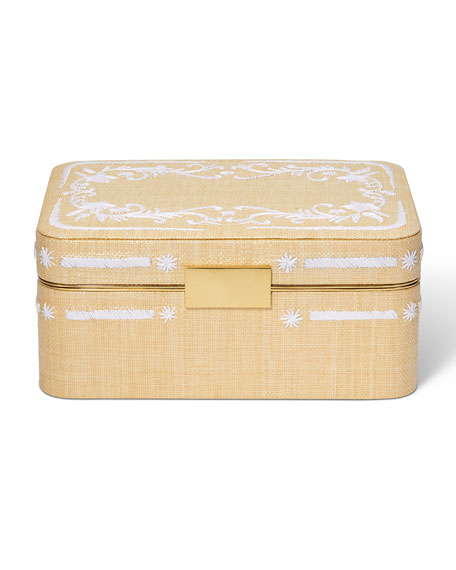 Image 1 of 3: AERIN Beauvais Embroidered Raffia Jewelry Box
