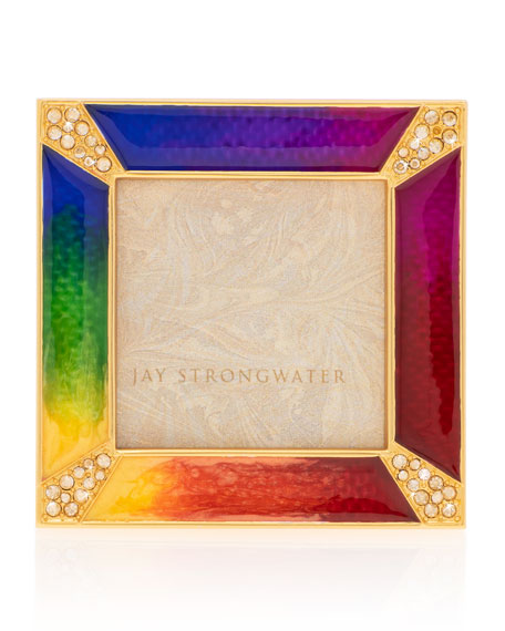 "Jay Strongwater Rainbow Pave Corner Square Frame, 2""Sq."