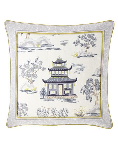 """Legacy Shang Pagoda Pillow, 22""""Sq."""