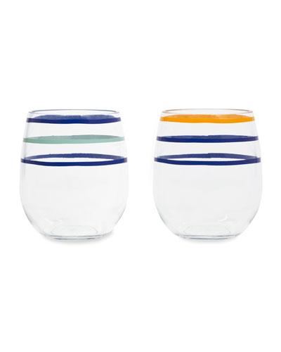 citrus twist acrylic stemless wine glasses  set of 2