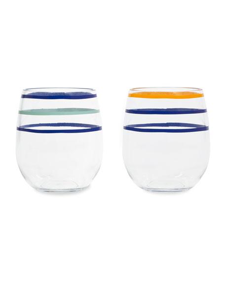 kate spade new york citrus twist acrylic stemless wine glasses, set of 2