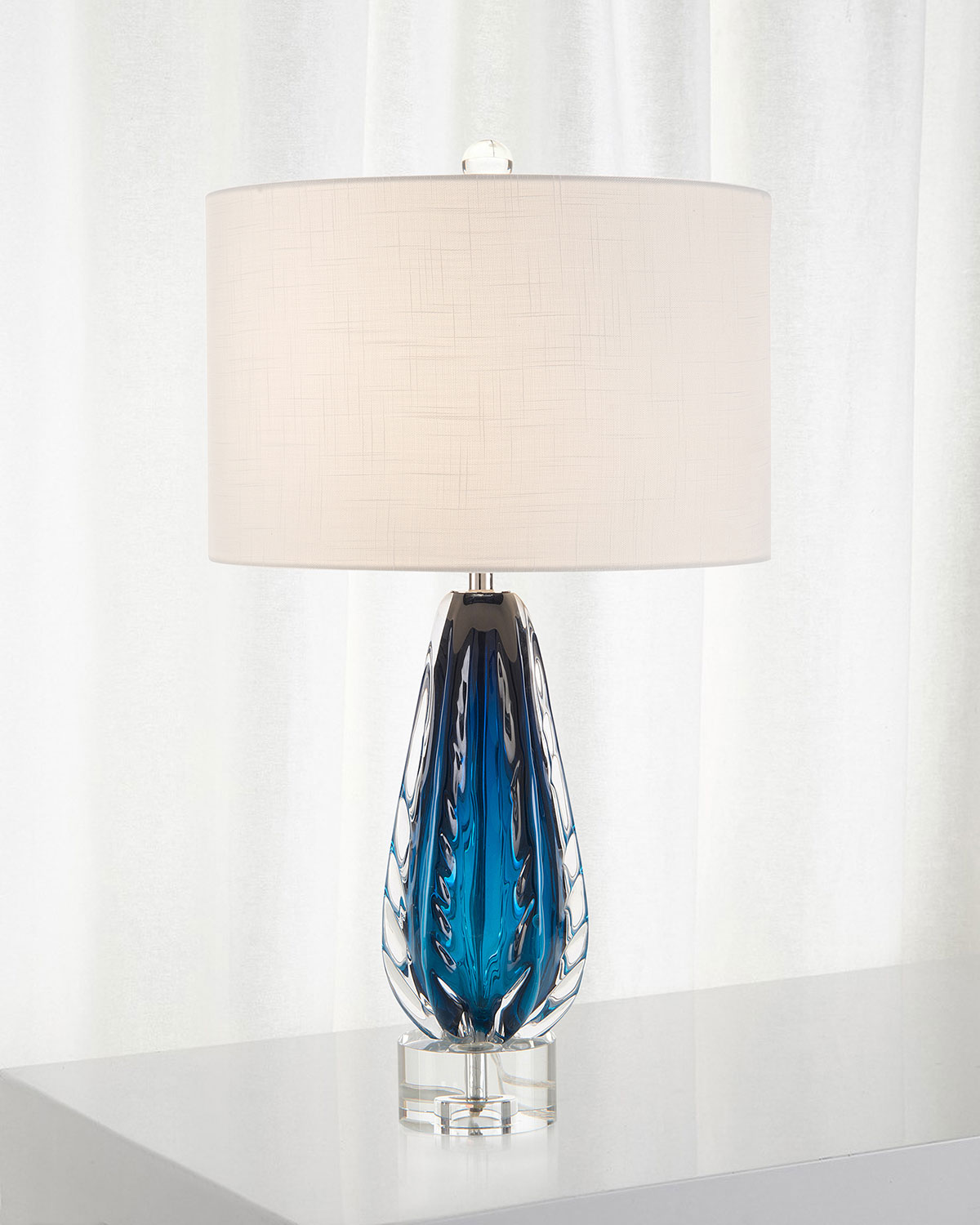 John-Richard Collection Amalfi Blue & Clear Glass Table Lamp