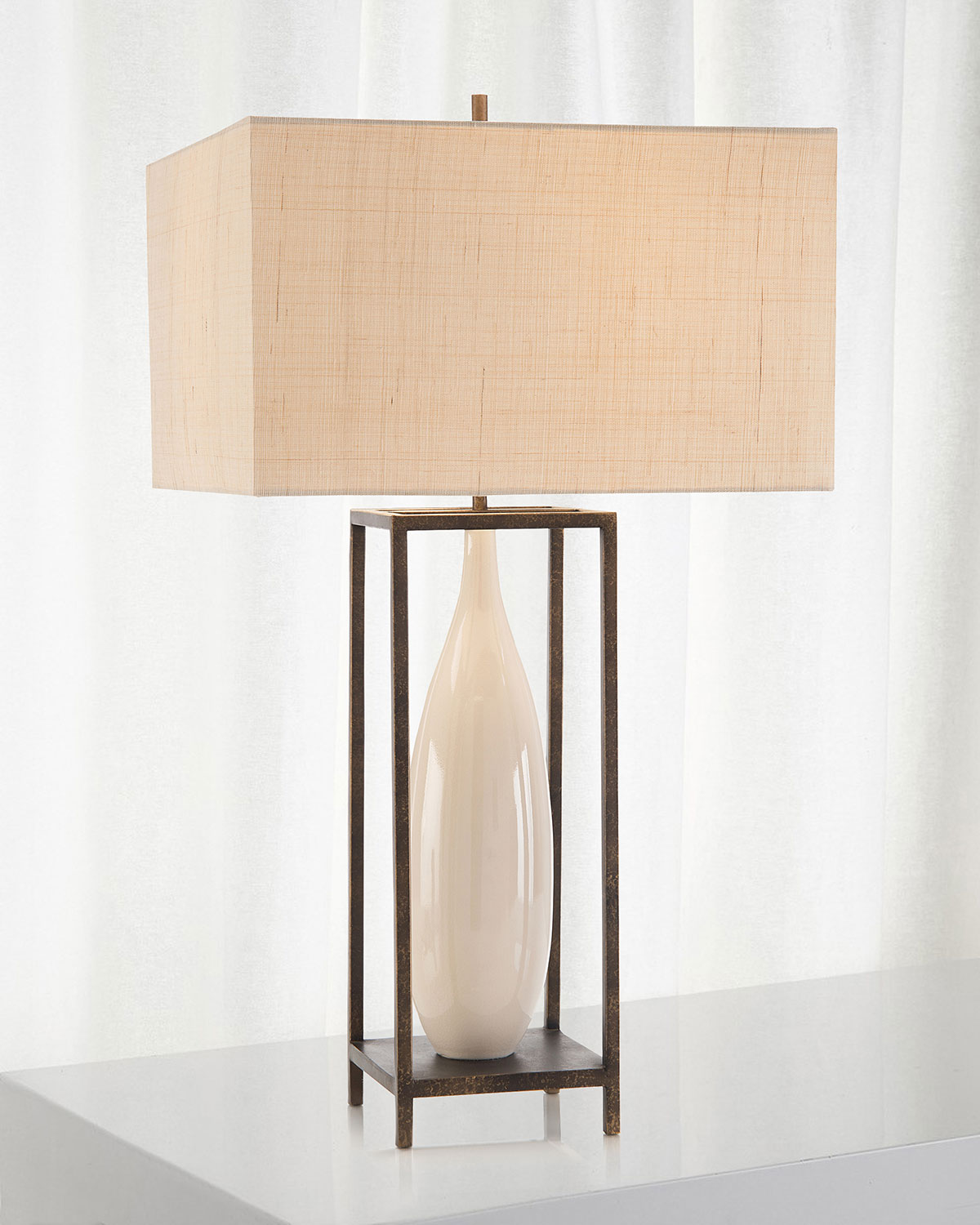 John-Richard Collection Framed Ceramic Urn Table Lamp