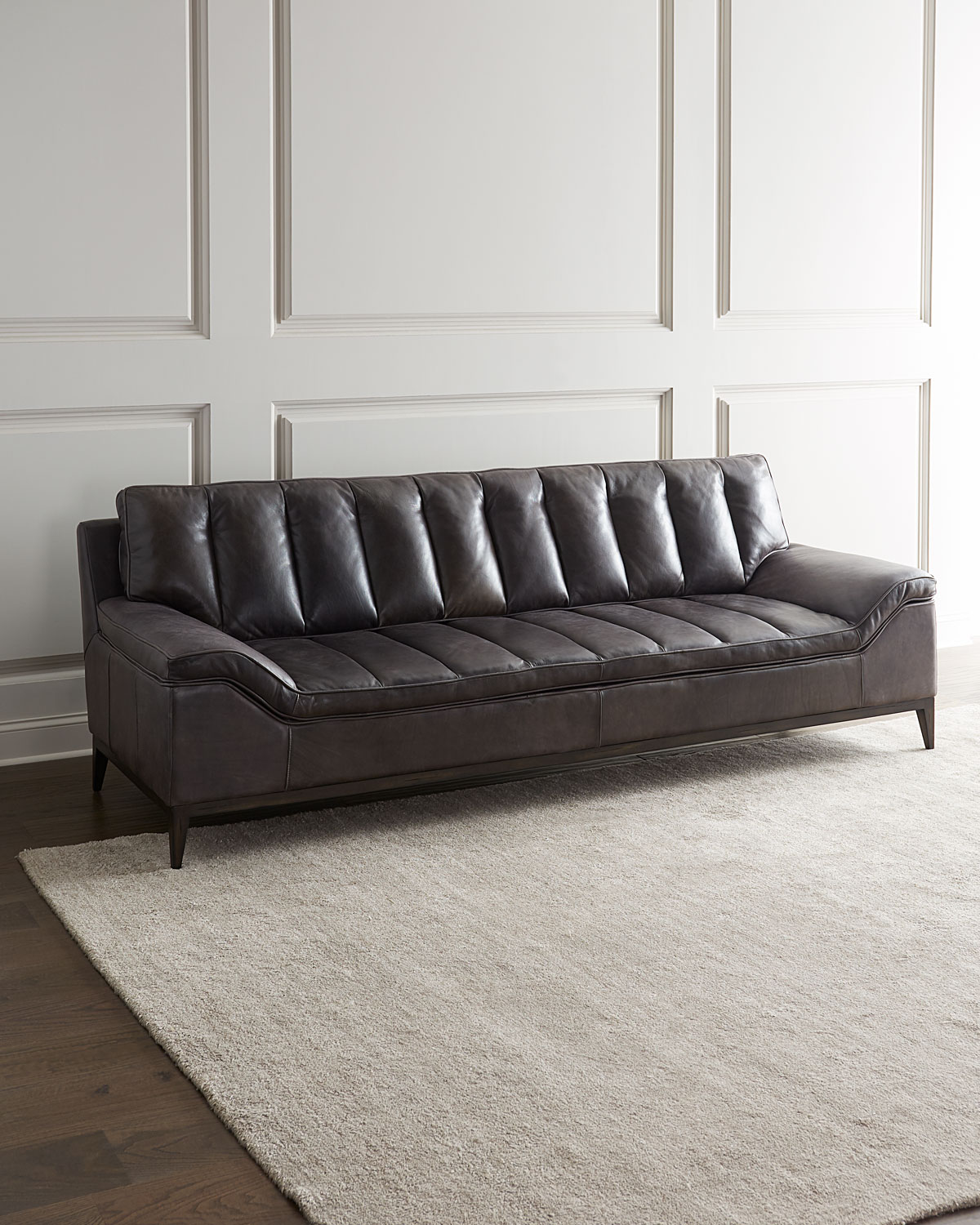 Picture of: Hooker Furniture Kane Channel Tufted Leather Sofa Neiman Marcus
