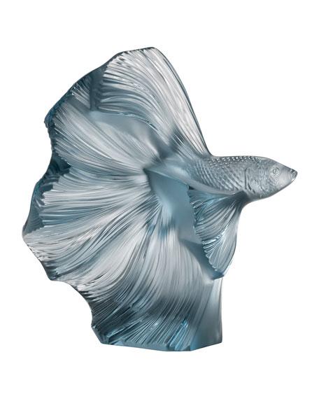 Lalique Fighting Fish Sculpture, Persepolis Blue