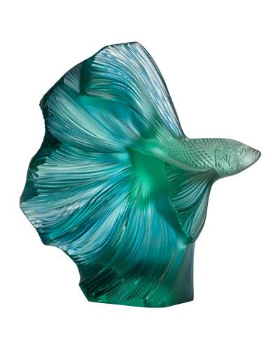 Fighting Fish Sculpture  Green