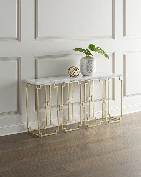 Image 1 of 3: Hooker Furniture Watkins Marble Top Console Table
