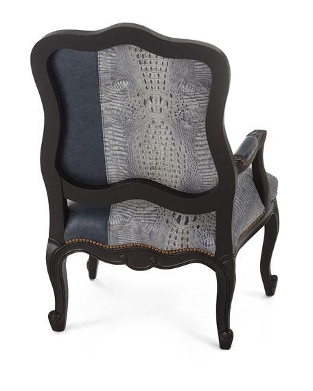 Massoud Alex Leather Bergere Chair