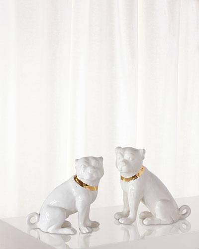 Cecil Cream Pug Statues  Set of 2