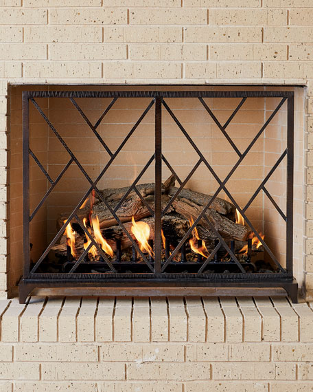 Global Views Chinoise Fret Bronze Fireplace Screen