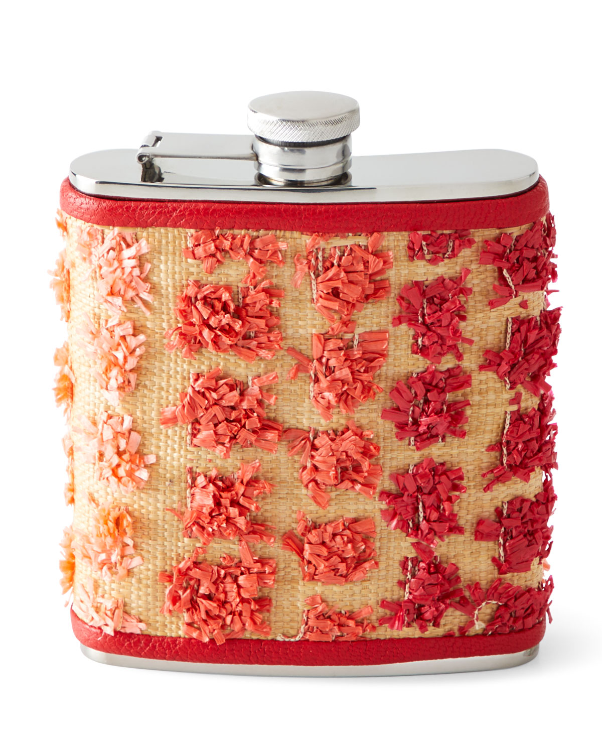 Graphic Image Raffia Wrapped Flask