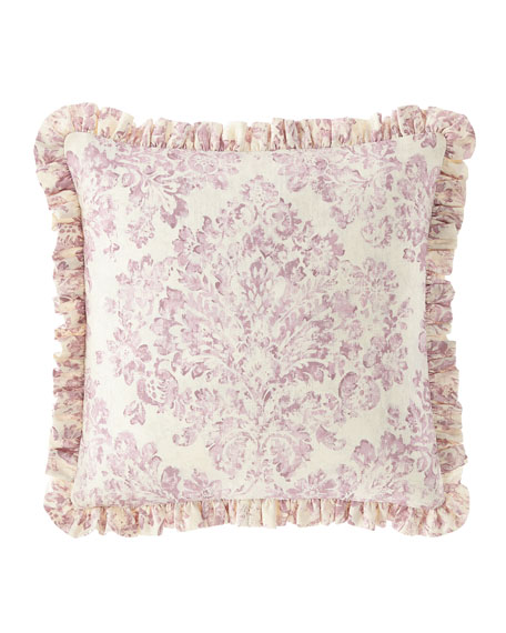 Sweet Dreams Iris Damask Boutique Pillow with Ruffle Edge