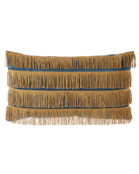 Dian Austin Couture Home Emporium Oblong Pillow with Gold Fringe