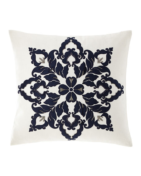 Callisto Home Velvet & Linen Beaded Decorative Pillow