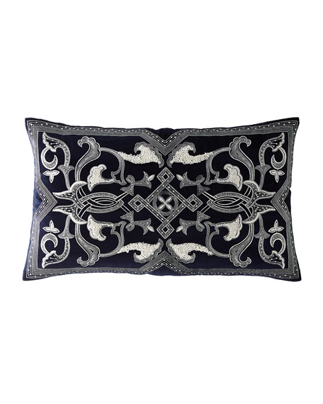 Callisto Home Embroidered Linen Pillow