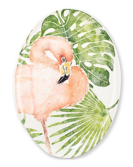 Vietri Into the Jungle Flamingo Large Platter