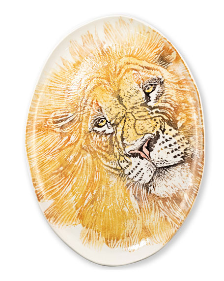 Vietri Into the Jungle Lion Large Oval Platter
