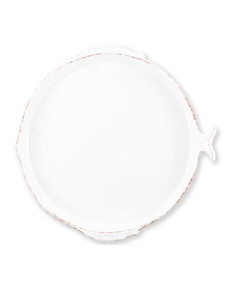 Vietri Melamine Lastra Fish Round Platter, White