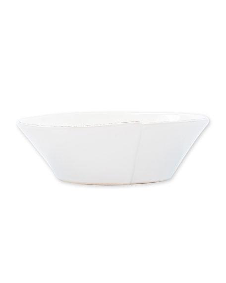Vietri Lastra Small Oval Bowl, White
