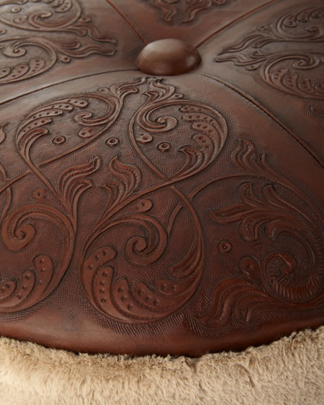 Ronnie Faux-Fur & Leather Ottoman