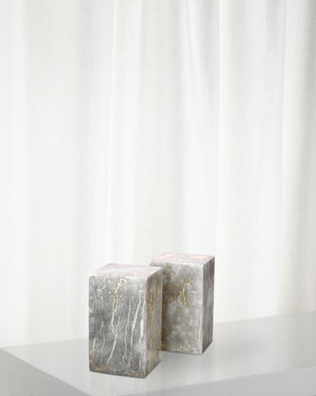 Jamie Young Slab Rectangle Bookends in Silver and Gold, Set of 2