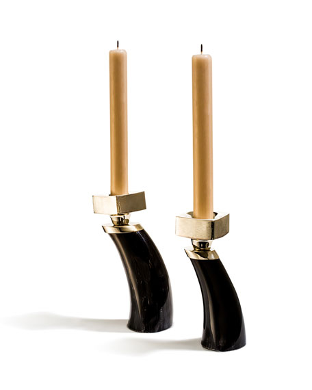 Image 2 of 2: LADORADA Dark Bull Horn Candlestick Holders, Set of 2
