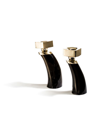 Image 1 of 2: LADORADA Dark Bull Horn Candlestick Holders, Set of 2