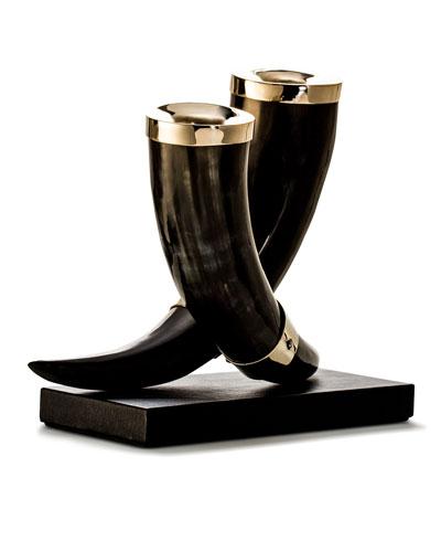 Dark Bull Horn & Leather Candleholders