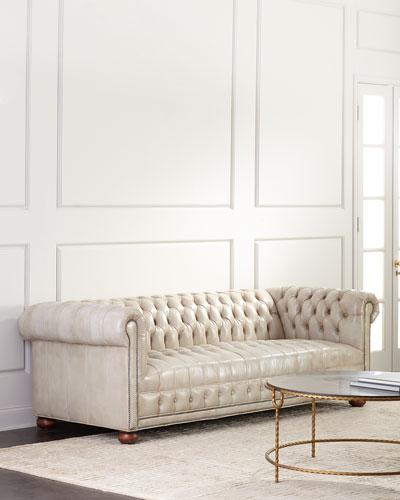 Olga Leather Chesterfield Sofa  94