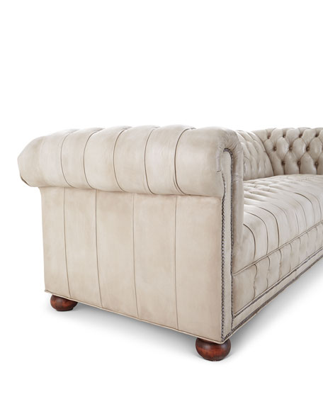 """Old Hickory Tannery Olga Leather Chesterfield Sofa, 94"""""""