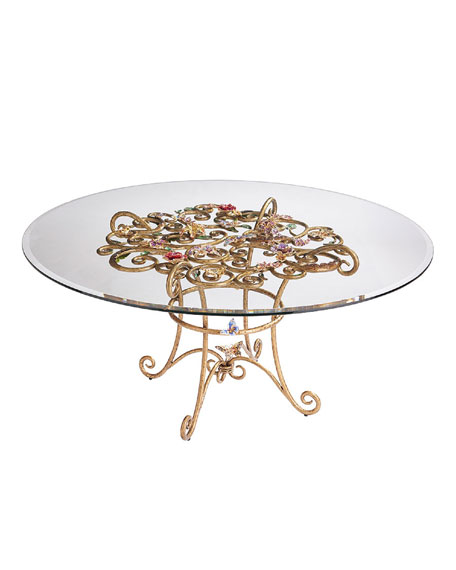 Jay Strongwater Floral Dining Table