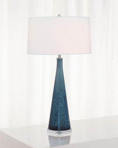 London Smoke Blue Glass Lamp